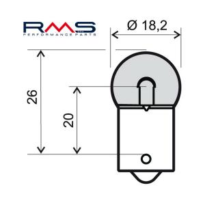 Žiarovka RMS 246510235 12V 10W, R10 BA15S biela