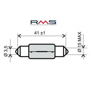 Žiarovka RMS 246510145 12V 15W, T15X44 S8.5 biela