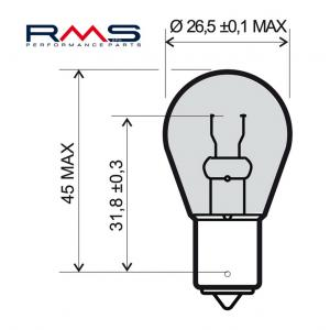 Žiarovka RMS 246510195 12V 21W , P21W BA15S biela