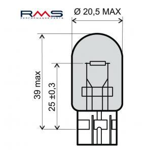 Žiarovka RMS 246510385 12V 21W, T20 biela