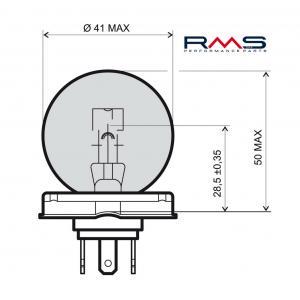 Žiarovka RMS 246510105 12V 45/40W, P45T biela