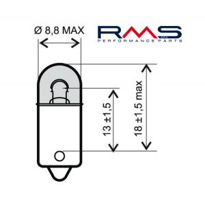 Žiarovka RMS 246510415 12V 4W, BA9S biela