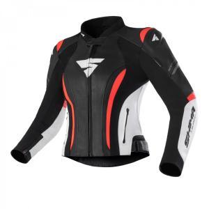 Dámska bunda na motocykel Shima Miura 2.0 čierno-bielo-fluo červená