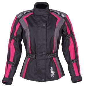Moto bunda dámska Roleff Estretta čierno-ružovo-šedá