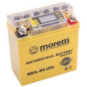 Bezúdržbová gélová batéria Moretti MB5L-BS, 12 V, 5 Ah s meračom napätia