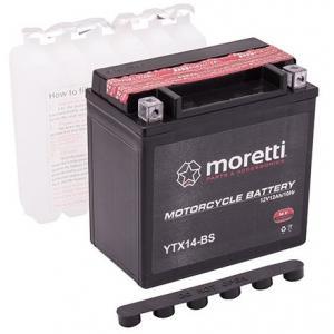 Bezúdržbová motocyklová batéria Moretti MTX14-BS, 12 V, 12 Ah