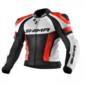 Bunda na motocykel Shima STR čierno-bielo-fluorescenčno červená výpredaj