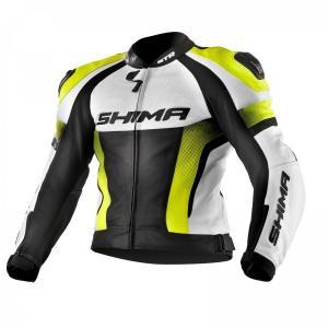 Bunda na motocykel Shima STR čierno-bielo-fluorescenčno žltá výpredaj