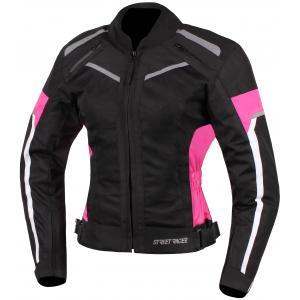 Dámska bunda na motocykel Street Racer Betty čierno-bielo-ružová