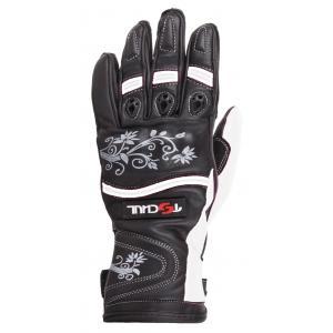 Dámske rukavice na motocykel Tschul 301 čierno-biele