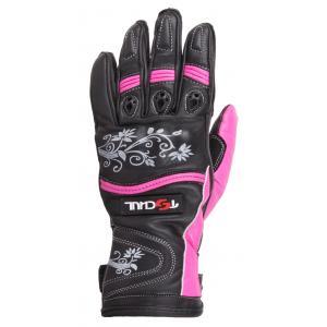 Dámske rukavice na motocykel Tschul 301 čierno-ružové