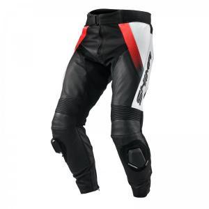 Nohavice na motocykel Shima STR čierno-bielo-fluorescenčno červené výpredaj