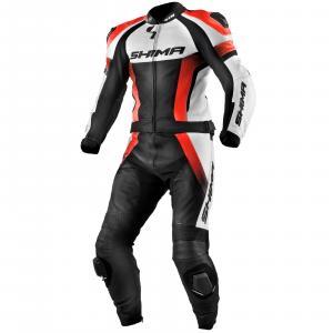 Kombinéza na motocykel Shima STR čierno-bielo-fluorescenčno červená výpredaj