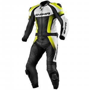 Kombinéza na motocykel Shima STR čierno-bielo-fluorescenčno žltá výpredaj