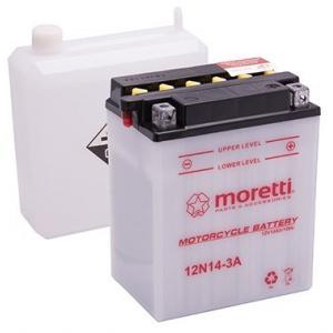 Konvenčná motocyklová batéria Moretti 12N14 - 3 A, 12 V, 14 Ah