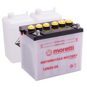 Konvenčná motocyklová batéria Moretti 12N24 - 3A, 12 V, 24 Ah výpredaj