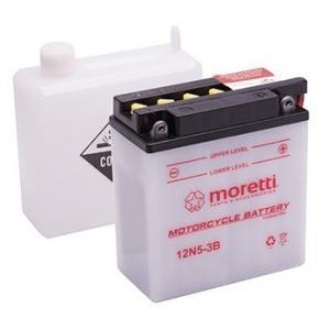 Konvenčná motocyklová batéria Moretti 12N5 - 3B, 12 V, 5 Ah