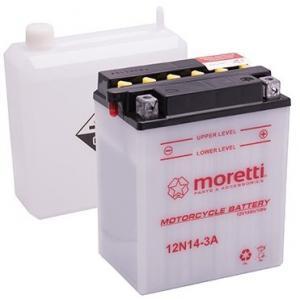 Konvenčná motocyklová batéria Moretti 12N5, 5 - 4 A, 12 V, 5,5 Ah
