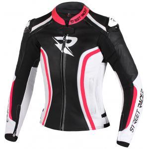 Dámska bunda na motocykel Street Racer Electra čierno-bielo-fluorescenčno ružová výpredaj