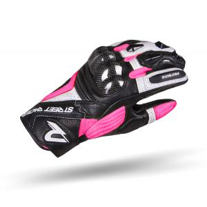 Dámske rukavice na motocykel Street Racer XTR čierno-bielo-ružové