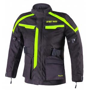 Detská bunda na motocykel Street Racer Drago čierno-fluorescenčno žltá