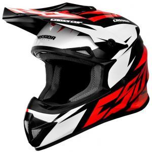 Motokrosová prilba Cassida Cross Cup Two čierno-bielo-červená