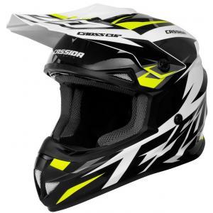Motokrosová prilba Cassida Cross Cup Two čierno-bielo-šedo-fluorescenčno žltá