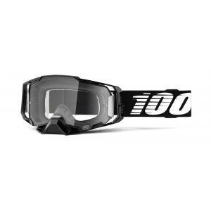Motokrosové okuliare 100 % ARMEGA čierne (číre plexisklo)