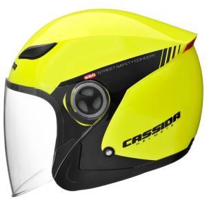 Otvorená prilba na motocykel Cassida Reflex Safety čierno-fluorescenčno žltá