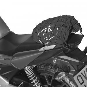 Pružná batožinová sieť Oxford pre motocykle reflexná čierna
