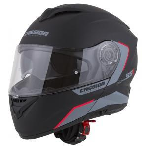 Odklápacia prilba na motocykel Cassida Compress 2.0 Refraction čierno-šedo-červená
