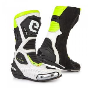Vysoké čižmy na motocykel Eleveit SP-01 bielo-čierno-fluorescenčno žlté