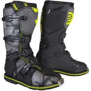 Vysoké čižmy na motocykel Shot X10 2.0 čierno-camo-fluorescenčno žlté