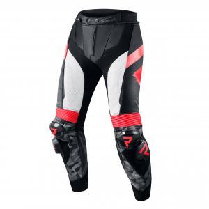 Nohavice na motocykel Rebelhorn Rebel čierno-bielo-fluo červené výpredaj