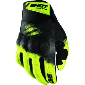 Motocrossové rukavice Shot Drift Smoke čierno-fluorescenčno žlté