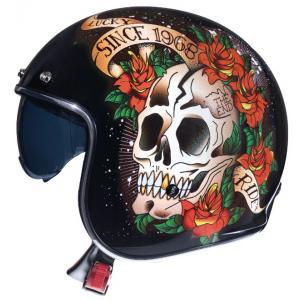 Otvorená prilba na motocykel MT LeMans 2 SV SKULL&ROSES čierno-červená