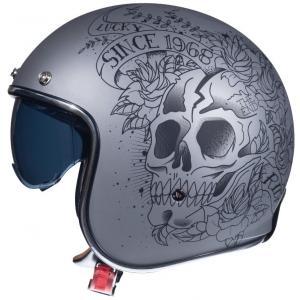 Otvorená prilba na motocykel MT LeMans 2 SV SKULL&ROSES šedá matná