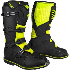 Vysoké čižmy na motocykel Shot X10 2.0 čierno-fluorescenčno žlté