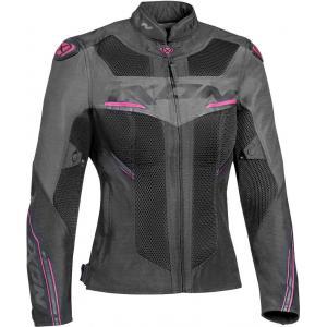 Dámska bunda na motocykel IXON Draco čierno-šedo-ružová