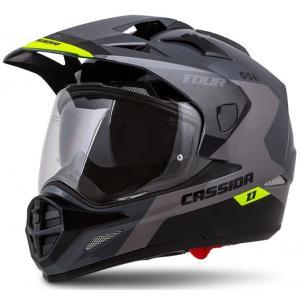 Enduro prilba Cassida Tour 1.1 Spectre čierno-šedo-fluorescenčno žltá