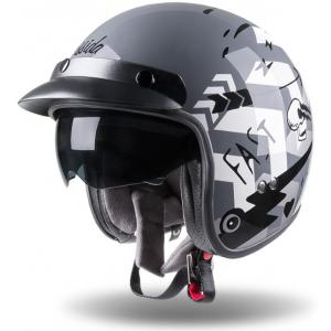 Otvorená prilba na motocykel Cassida Oxygen Badass šedo-bielo-čierna