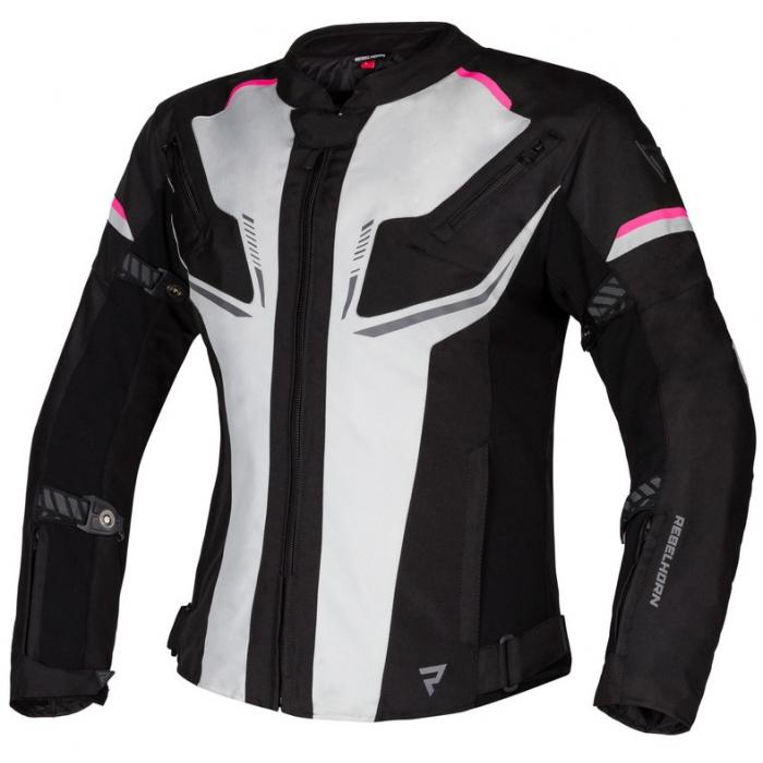 Dámska bunda na motocykel Rebelhorn Blast šedo-čierno-ružová