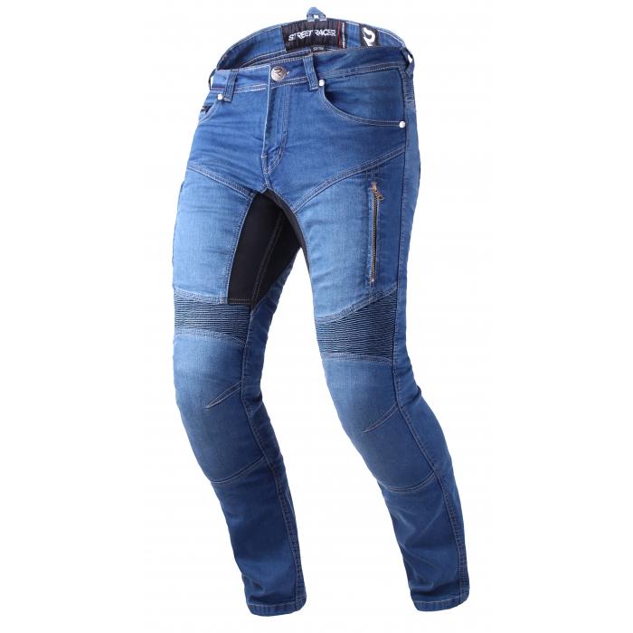 Predĺžené jeansy na motocykel Street Racer Stretch II CE modré