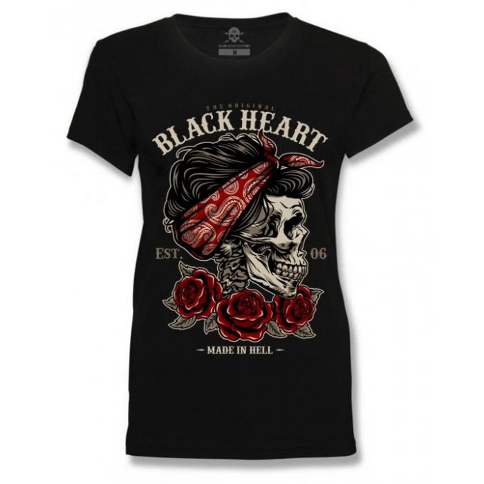 Dámske tričko Black Heart Pin Up Skull