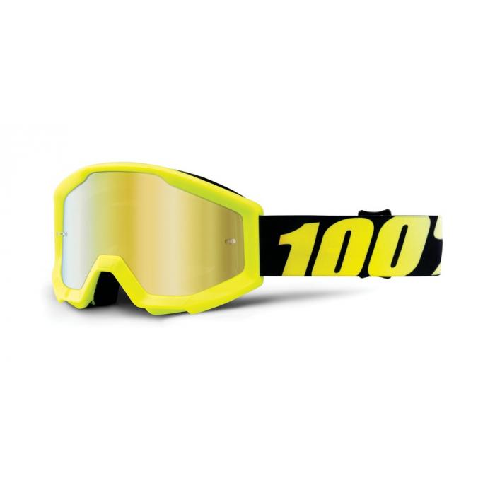 Detské motokrosové okuliare 100 % Strata fluorescenčno žlté (zlaté chrómové plexisklo)