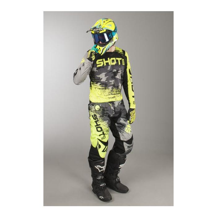 Komplet (dres + nohavice) Shot CONTACT Counter šedo-fluorescenčno žltý