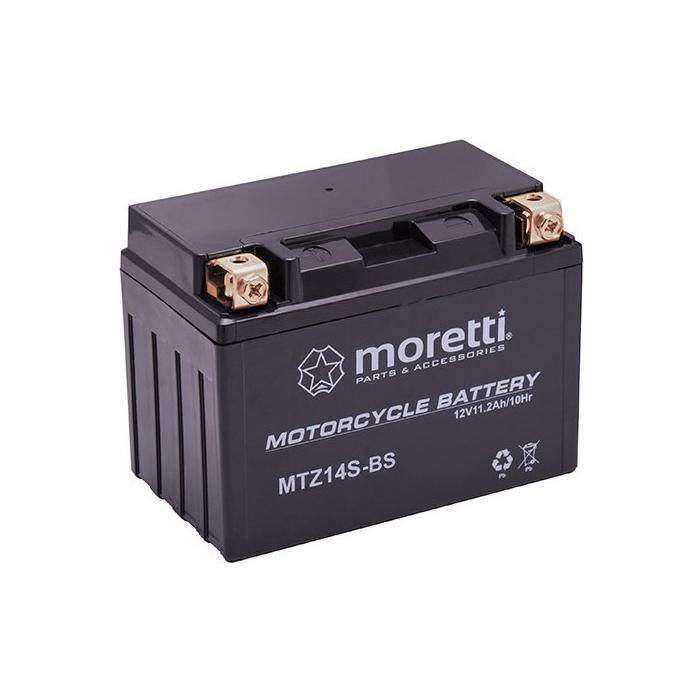 Konvenčná motocyklová batérie Moretti MTZ14-BS, 12V 11Ah