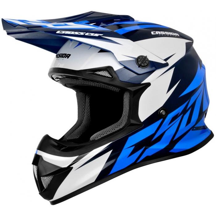 Motokrosová prilba Cassida Cross Cup Two čierno-bielo-modrá