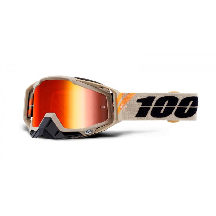Motokrosové okuliare 100 % RACECRAFT Poliet (červené - zrkadlové plexisklo)