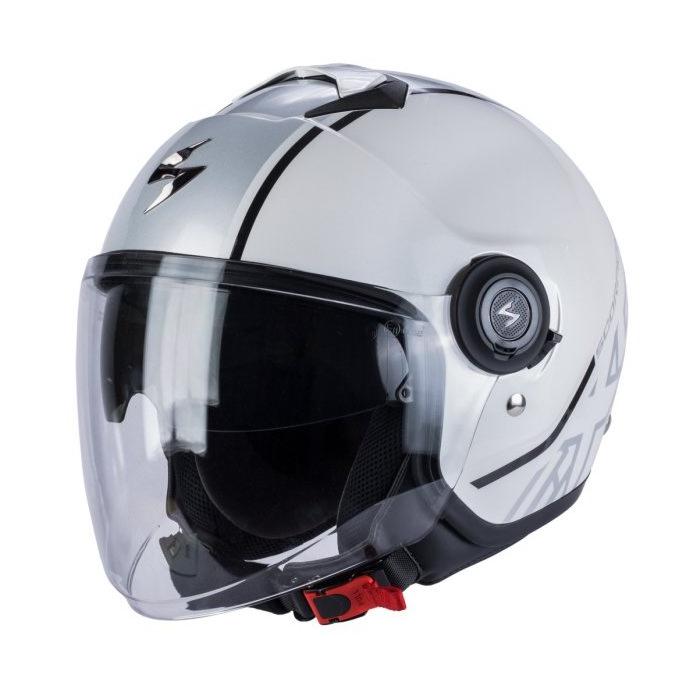 Otvorená prilba na motocykel Scorpion EXO-CITY Avenue bielo-strieborná